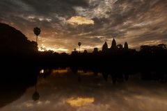 Sunrise at Angkor temple Royalty Free Stock Image