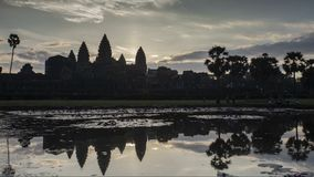 Sunrise Angkor Timelapse. Painted view of the ancient monument of Khmer architecture stock video