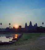 Sunrise of Angkor Wat Stock Photos