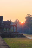 Sunrise at the Angkor Wat. The biggest temple complex and the largest religious monument in the world. Beautiful morning. Sunrise at the Angkor Wat. The largest Stock Images
