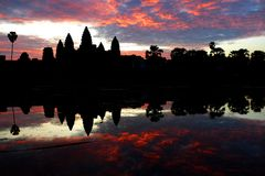 Sunrise at angkor wat, cambodia Royalty Free Stock Photos