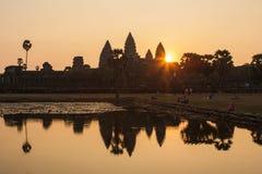 Sunrise in Angkor Wat, Siem Reap Cambodia Royalty Free Stock Image