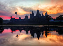 Sunrise at angkor wat temple Royalty Free Stock Photo