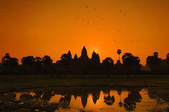 Sunrise at Angkor Wat World Heritage, Siem Reap, Cambodia. In red sky royalty free stock images