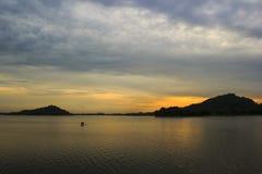 Sunrise at Angsubleak reservoir, Thailand Stock Images