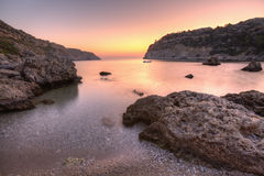 Sunrise at Anthony Quinn's Bay, Rhodes Royalty Free Stock Photo
