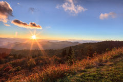 Sunrise Appalachian Blue Ridge Mountains Western North Carolina. Autumn landscape of the sun rising over the Appalachian Blue Ridge Mountains in Western North Royalty Free Stock Images