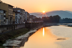 Sunrise at Arno River Embankment in Florence Royalty Free Stock Photo