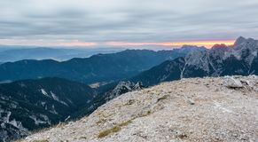 Sunrise as seen from a mountain top. Royalty Free Stock Images