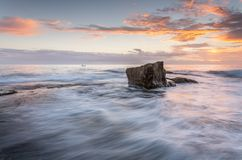Sunrise north Turrimetta rockshelf flows Royalty Free Stock Images