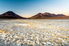 Sunrise at Atacama Desert and your Volcanos. With Volcano Lascar royalty free stock image