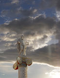 Sunrise in Athens Greece, Apollo statue Stock Photos