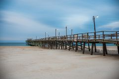 Sunrise at the Atlantic Beach Pier on Emerald Isle stock photo