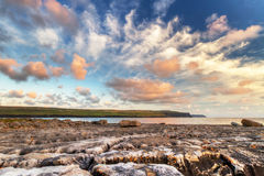 Sunrise at Atlantic ocean in Doolin. Ireland Royalty Free Stock Photo