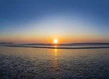 Sunrise at the atlantic ocean in Rye beach, New Hampshire. New England Stock Photo