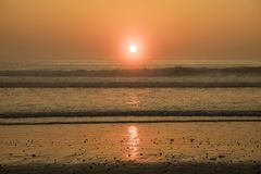 Sunrise at the atlantic ocean in Rye beach, New Hampshire. New England Royalty Free Stock Images