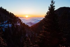 Sunrise from atop a mountain royalty free stock images