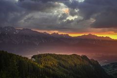 Sunrise in the Austrian Alps. The sun is rising over the summit of Hundskopf mountain, Tyrol, Austria, July 2018 stock images
