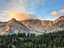 Sunrise in austrian alps stock photo