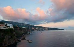 The sunrise. The autumn sunrise on the rocks of Sorrento Royalty Free Stock Photo