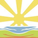 Sunrise Background. Abstract Colored Sunrise Isolated on White Background Stock Photos