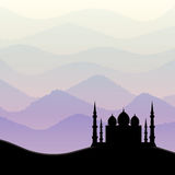 Sunrise background with mosque silhouette Stock Image
