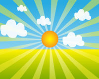 Sunrise Background. Vector illustration of the sunrise background with plain meadow Stock Photography