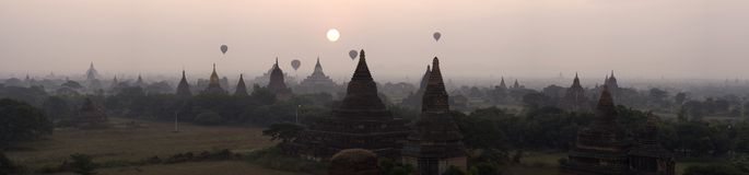 Sunrise in bagan. This is a panorama photo of bagan, myanmar. Bagan is one of the richest archaeological sites in Southeast Asia with 2230 monuments still Royalty Free Stock Photos