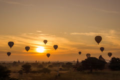 Sunrise at Bagan  Myanmar, silhouette pagodas and balloon Stock Photography