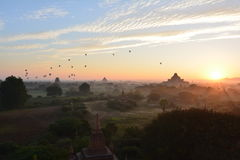 Sunrise in Bagan, at Shwesandaw Pagoda Stock Photography