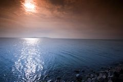 Sunrise in Balaton and stone pier Stock Images