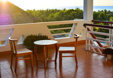 Sunrise at balcony Stock Photos
