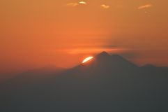 Sunrise in Bali. The view of sunrise from a volcano peak in Bali Royalty Free Stock Photography