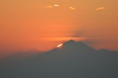 Sunrise in Bali. The view of sunrise from a volcano peak in Bali Royalty Free Stock Image