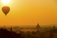 Sunrise balloon over Bagan. Royalty Free Stock Photography