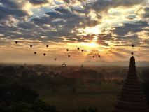 Sunrise balloons Bagan royalty free stock image