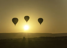 Sunrise balloons. Photo shows flying balloons at dawn over Cappadocia Stock Image