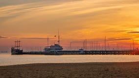 Sunrise on the Baltic sea, Sopot Molo, Poland. Amazing and beautiful sunrise on the Baltic sea, Sopot Molo, Poland stock photography