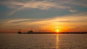 Sunrise on the Baltic sea, Sopot Molo, Poland. Amazing and beautiful sunrise on the Baltic sea, Sopot Molo, Poland stock image