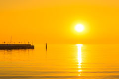 Sunrise at Baltic sea in Sopot. Poland Stock Photos