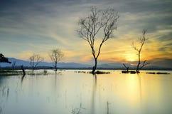 Sunrise Bang Phra reservoir Royalty Free Stock Photo