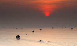 Sunrise at Bang Ta Boon bay ,Samut Songkhram province Thailand. Sunrise at Bang Ta Boon bay ,Samut Songkhram province in Thailand Stock Photo