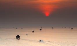 Sunrise at Bang Ta Boon bay ,Samut Songkhram province Thailand Stock Photo