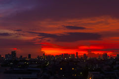 Sunrise at Bangkok, capital city of Thailand Stock Photos