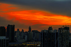 Sunrise at Bangkok, capital city of Thailand Royalty Free Stock Photo