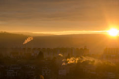 Sunrise in banska stiavnica Royalty Free Stock Image