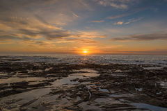 Sunrise on the Bar Beach in Newcastle NSW Australia. Bar Beach  is a popular beach and the name of the surrounding suburb in Newcastle, New South Wales Stock Photo