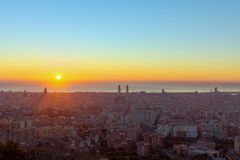 Sunrise in Barcelona Royalty Free Stock Photography