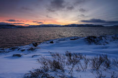 Sunrise on the Barents Sea. Teriberka, Murmansk region, Russia Royalty Free Stock Photos