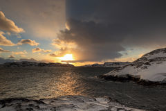 Sunrise on the Barents Sea. Teriberka, Murmansk region, Russia Royalty Free Stock Photography